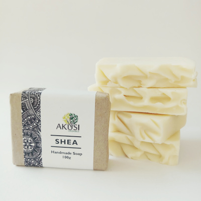 organic shea butter soap on white background made from nilotic shea