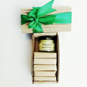 gift box with 5 mini natural soaps and a body butter